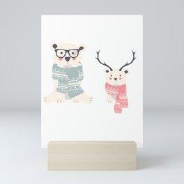 Two Cute Winter Bears Knitted Scarfs Mini Art Print