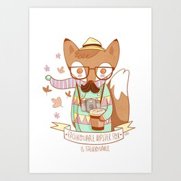 Fashionable Hipster Fox Art Print