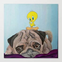 Pug & Tweety Canvas Print