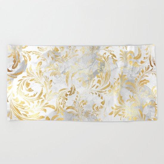 Elegant Gold swirls Beach Towel