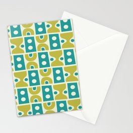 Funky Mid Century Modern Pattern 773 Turquoise and Chartreuse Stationery Cards