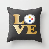 pittsburgh Throw Pillows featuring Pittsburgh Steelers_Love by Doodles & Designs by NK
