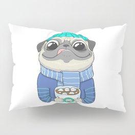 Pug with coffee Pillow Sham