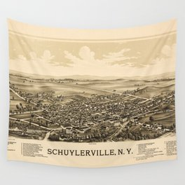 Aerial View of Schuylerville, New York (1889) Wall Tapestry