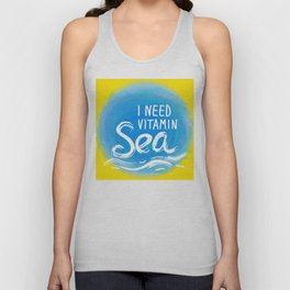 i need vitamin sea White text on blue abstract background, symbol of the sea ocean trendy print Unisex Tank Top