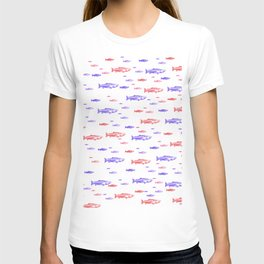 Red and Blue Fish Pattern T-shirt
