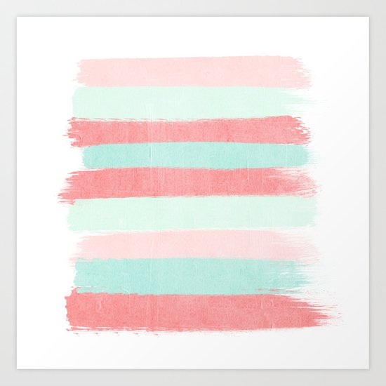 Painterly Stripes abstract trendy colors gender neutral seaside coral tropical minimal Art Print