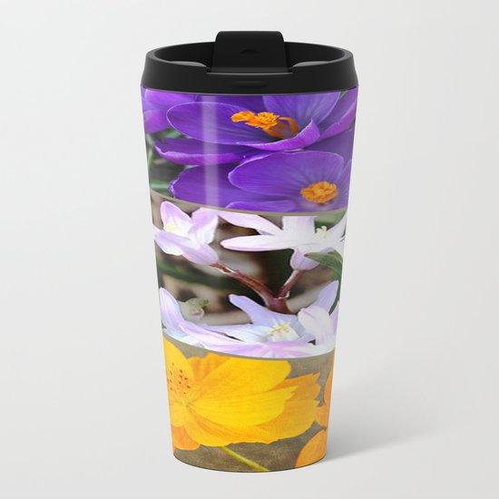 Spring Floral Collage Metal Travel Mug