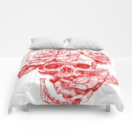 Roses and Human Skull - Red Comforters