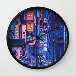 Landscape Art - Cyberpunk City Wall Clock