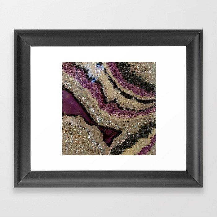 Purple Sparkle Geode Resin Artwork Framed Art Print By
