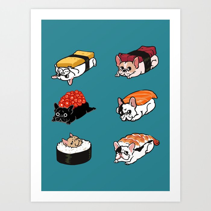 Sushi Frenchie Art Print