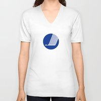 nordic V-neck T-shirts featuring Nordic Council Flag by tony tudor