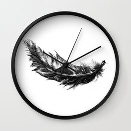 Feather- B&W // Illustration Wall Clock