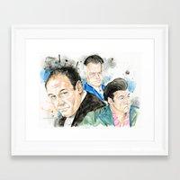 sopranos Framed Art Prints featuring The Sopranos - Tony, Paulie & Silvio by Drumond Art