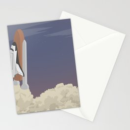 blast off launch pad Shuttle flies into space Stationery Cards