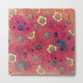 Poppies Deluxe:  Hot red and pink poppy fill with blue and gold details - damask Metal Print