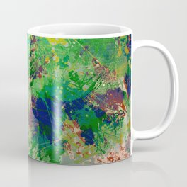 Spring Time Splatter - Abstract blue and green platter painting Coffee Mug
