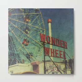 Wonder Wheel at Coney Island luna park, New York,  scaned sx-70 Polaroid Metal Print