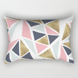 Modern geometrical pink navy blue gold triangles pattern Rectangular Pillow