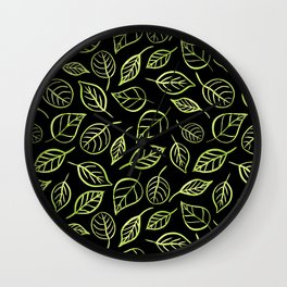 Green and black leaves pattern Wall Clock