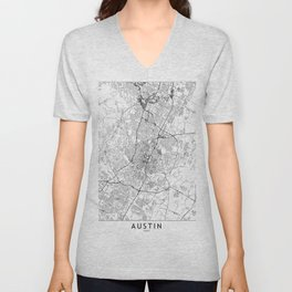 Austin White Map Unisex V-Neck