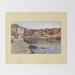 Aquarelle St Ives Cornwall Seagulls in the harbour Throw Blanket