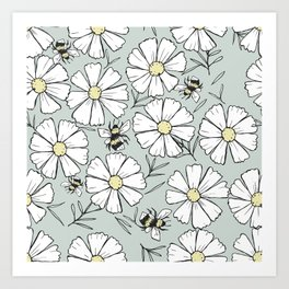 Bees and cosmos flowers Art Print