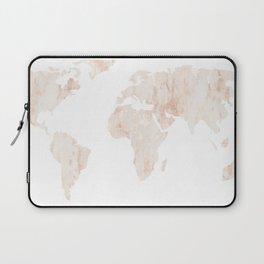 Marble World Map Light Pink Rose Gold Shimmer Laptop Sleeve