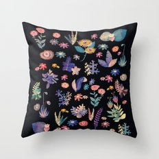 color flowers in the dark Throw Pillow