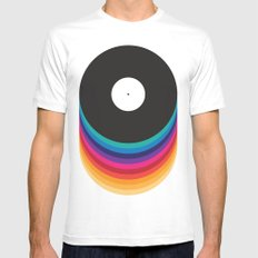 Happy Music White LARGE Mens Fitted Tee