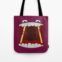 mouth Tote Bags featuring Mouth by Alex Tim