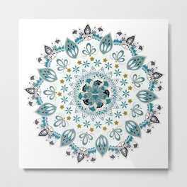 Light blue bohemian mandala Metal Print