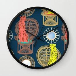 Rattan Cheetah Chairs + Mirrors Wall Clock