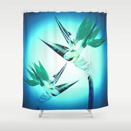 Unicorn Bird of Paradise 1980's Retro Floral Shower Curtain