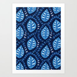 Beautiful Decorative Blue Leaves Pattern Art Print
