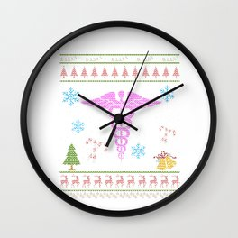 Nurse Christmas Ugly Sweater T Shirt RN CNA LPN Wall Clock