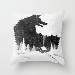 Shadow of a wolf above a small house. Throw Pillow