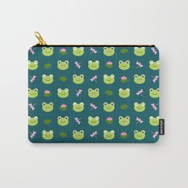 Frogs, Dragonflies and Lilypads on Teal Carry-All Pouch