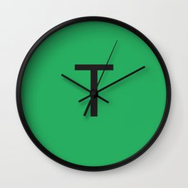 Letter T Initial Monogram - Black on Nephritis Wall Clock