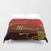 trumpet Duvet Covers featuring Red Trumpet by Becky Betancourt