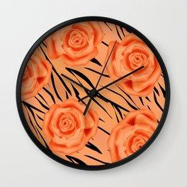 Orange roses on tiger background . Wall Clock