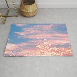 Pink Clouds in Bright Blue Sky Rug