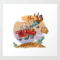 tintin Art Prints featuring Tintin and Snowy! by Ana Xoch Guillén