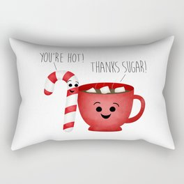 You're Hot! Thanks Sugar! Candy Cane & Hot Chocolate Couple Rectangular Pillow
