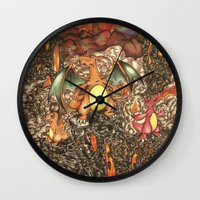 charizard Wall Clocks featuring charizard war  by IceDragon15
