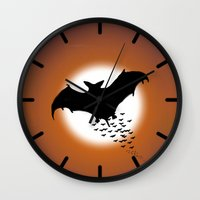 nightwing Wall Clocks featuring Nightwing by JT Digital Art