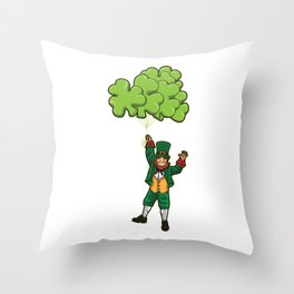 Leprechaun With Cloverleaf Balloons - Irish Fly Throw Pillow