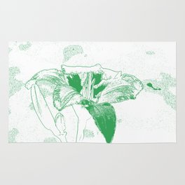Day Lily Print in Green Rug