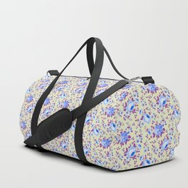 Blue pink vintage yellow hand painted floral Duffle Bag